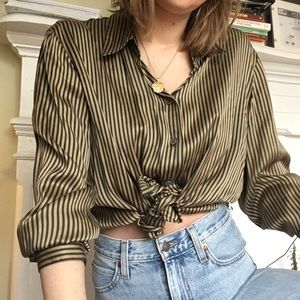 Tops - 100% silk ✨ vintage striped SOFT button up/ blouse
